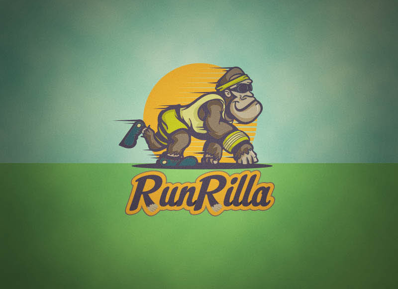 9 run rilla logo design
