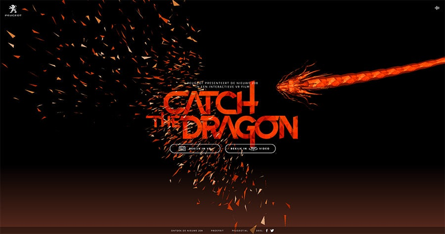2016 web design trends: VR Video (Catch the Dragon by Peugeot)