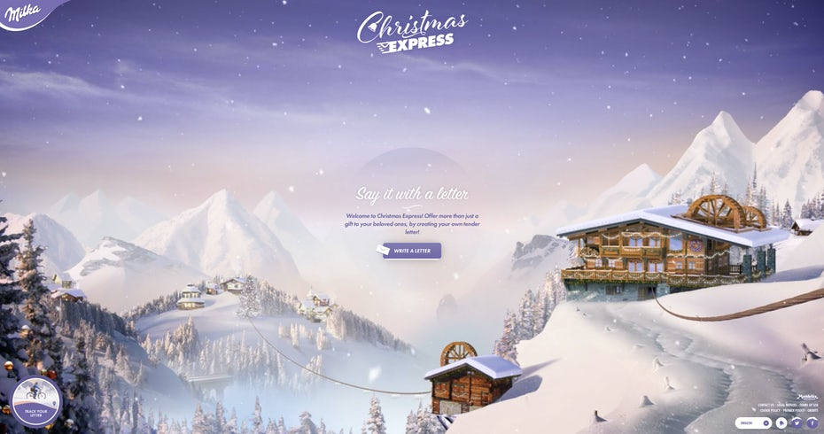 2016 web design trends: Full-screen video (Christmas Express by Milka)