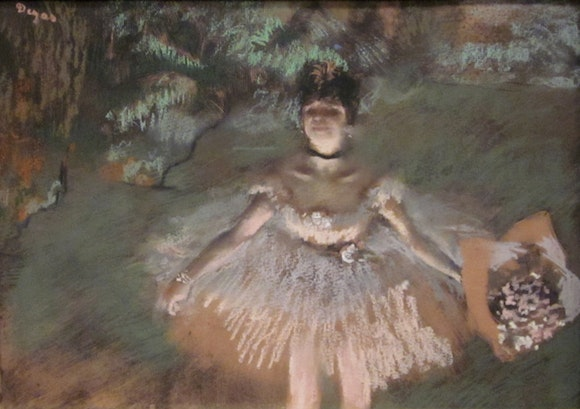 """Dancer Onstage with a Bouquet"" by Edgar Degas"
