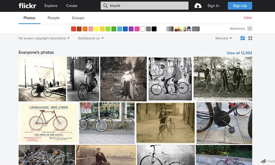 flickr screen capture of bicycles