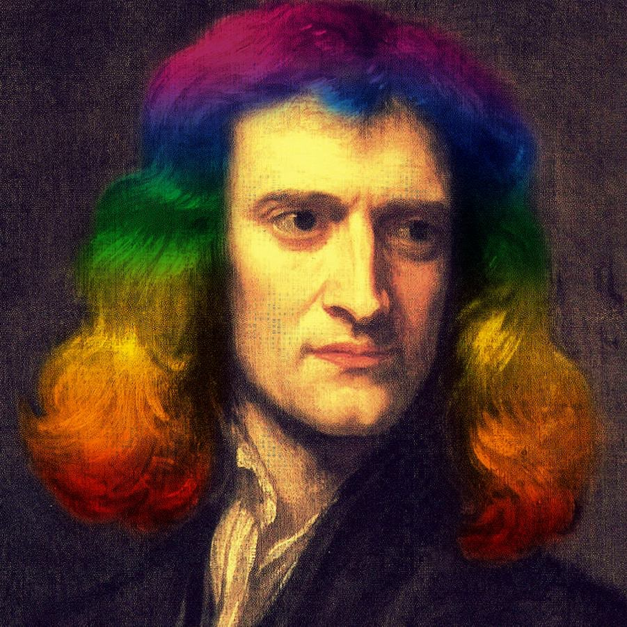 Isaac Newton with rainbow hair