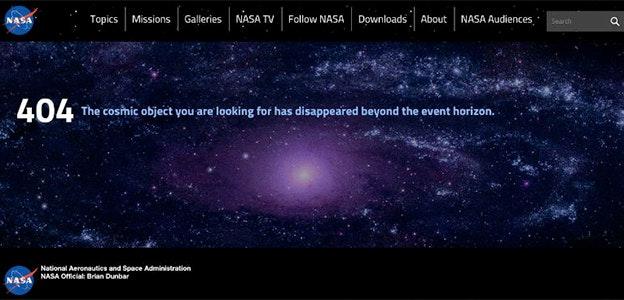 NASA 404 page