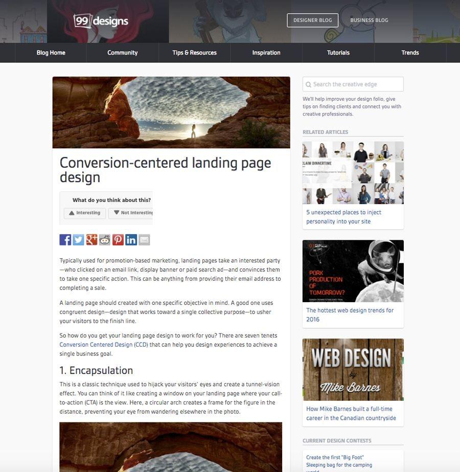 old blog design