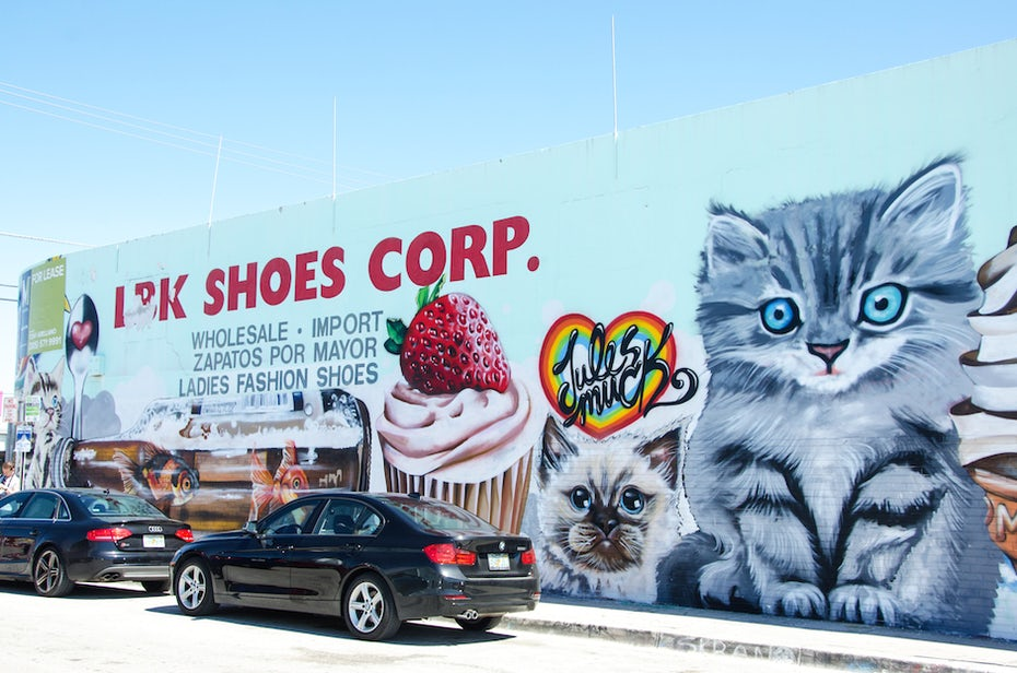 Kitten and cupcake Wynwood wall by Jules Muck