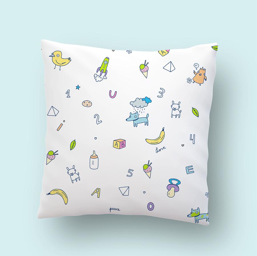 Kids pillow illustration