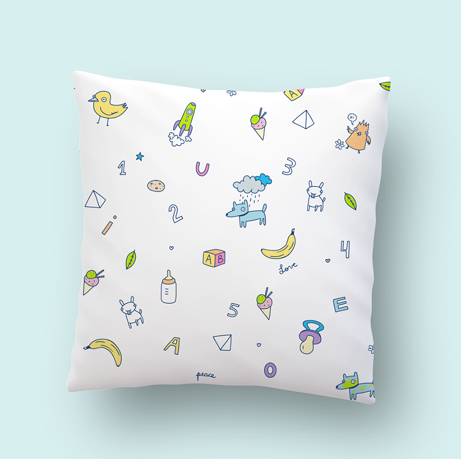 Kids pillow illustration