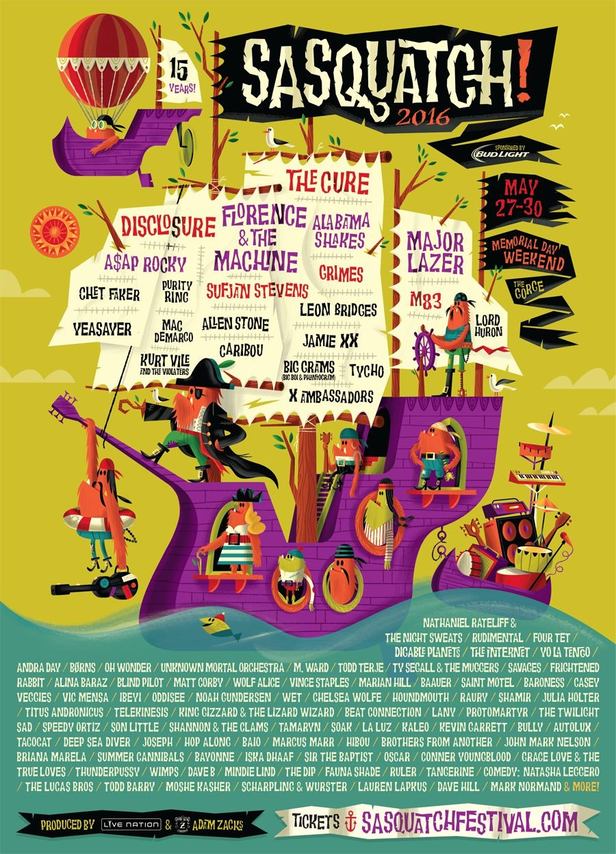 Sasquatch music festival poster 2016