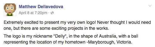 Matthew Dellavedova announces his personal logo on facebook