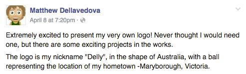 Matthew Dellavedova announces his personal logo on facebook
