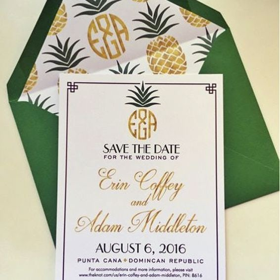 pineapple wedding invite