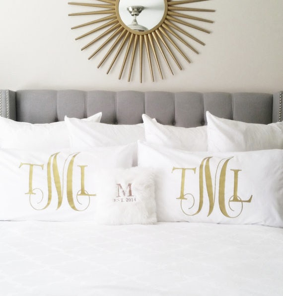 monogramed pillowcases