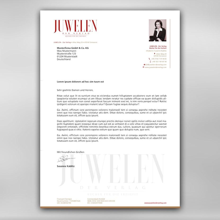 Briefpapier Design JUWELEN