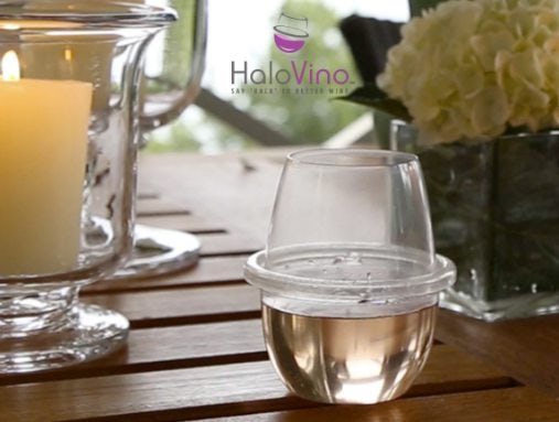 HaloVino wine glass with logo