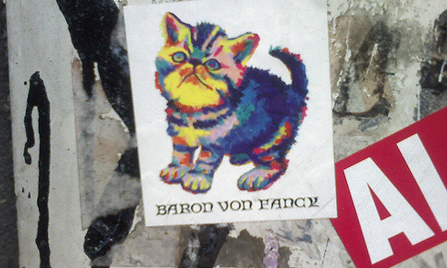 Psychedelic cat sticker art