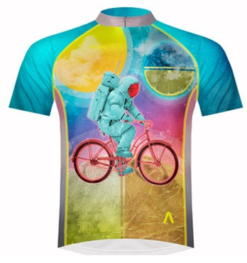 astronaut on a bicycle cycling jersey