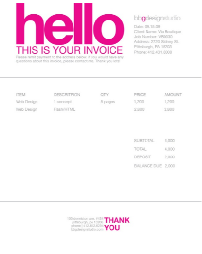 Image 4 invoice design