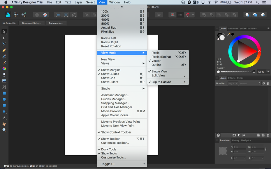Affinity Designer workspace options
