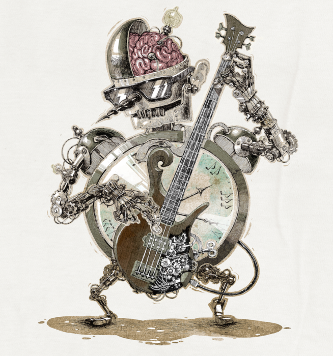 crazy bass playing robot by Evilltimm