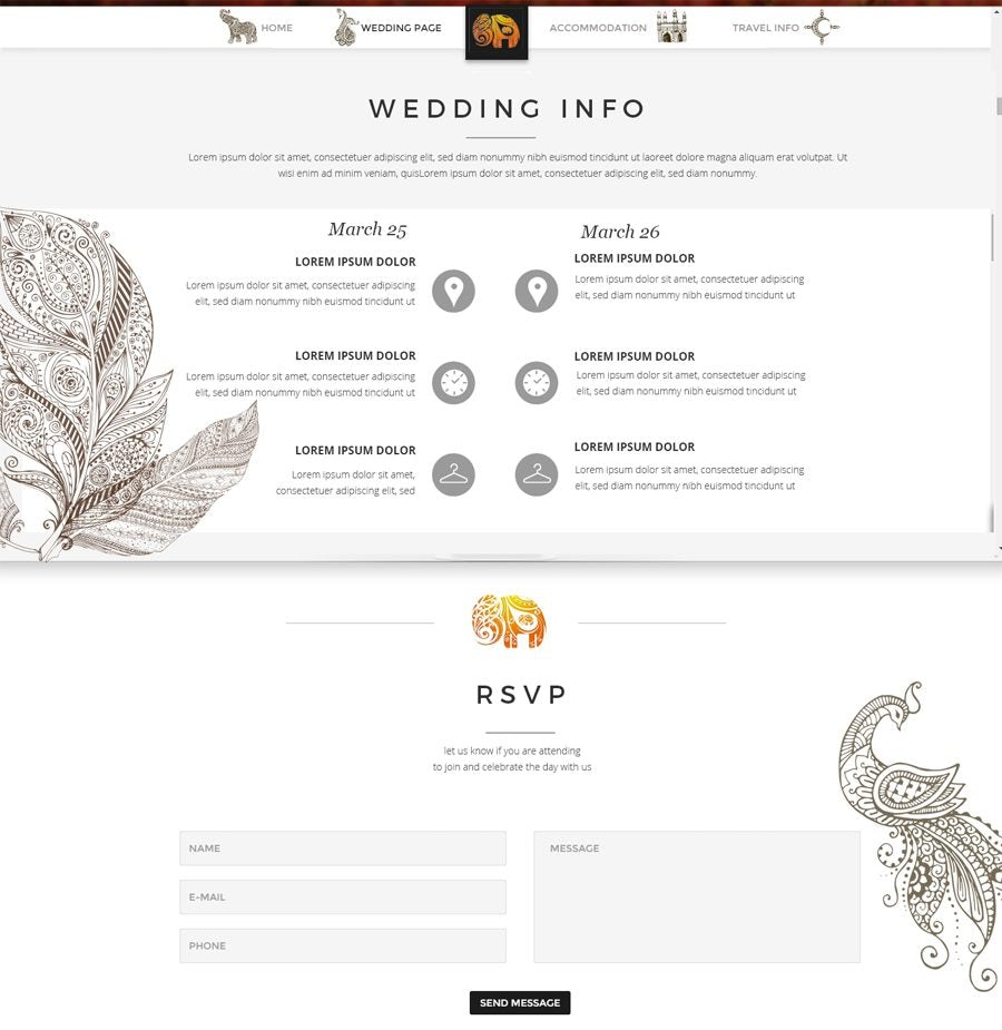 custom wedding website design example