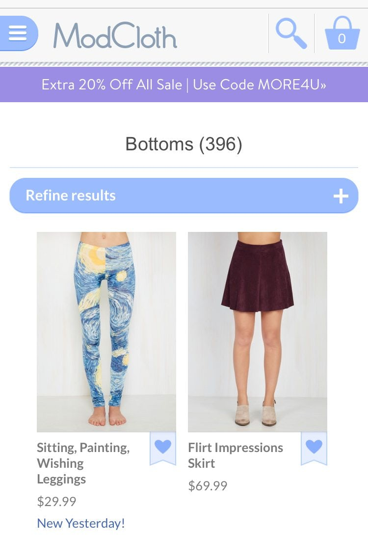 modcloth mobile website