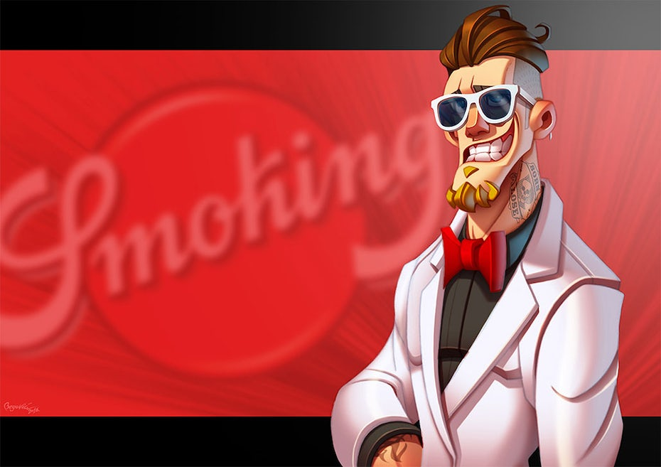 Mr. Smoking mascot