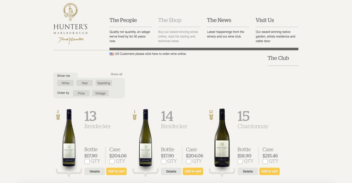 Hunter's wine website