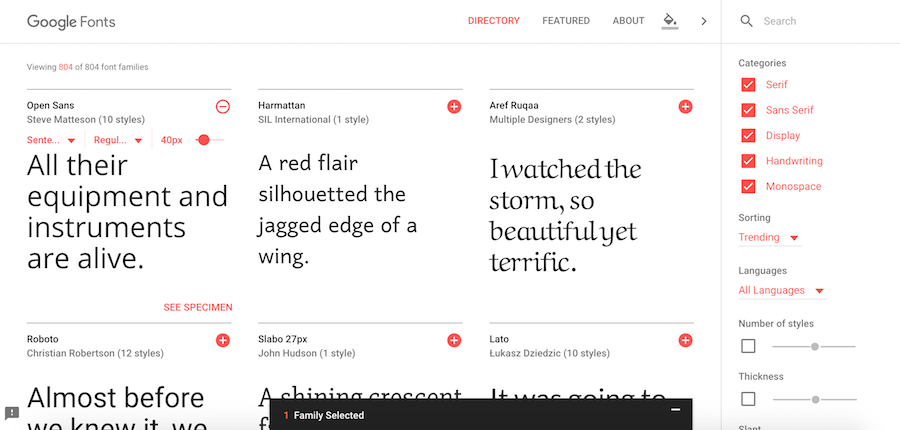 google fonts collection