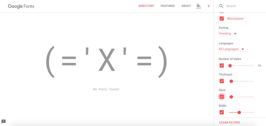filter google fonts