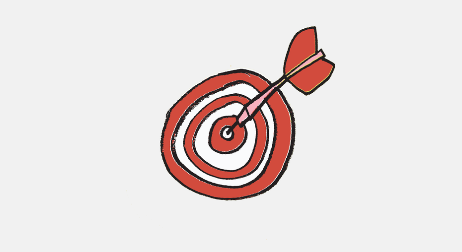 dart in bullseye illustration
