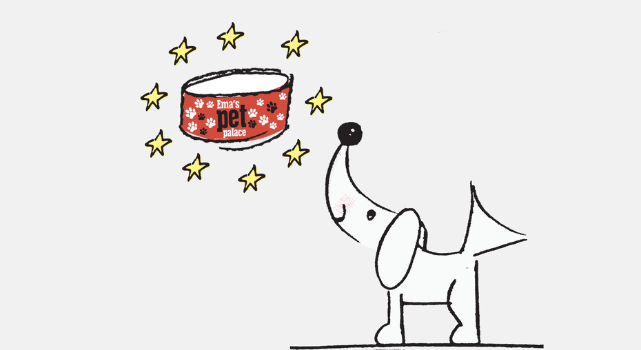 dog with branded pet bowl illustration