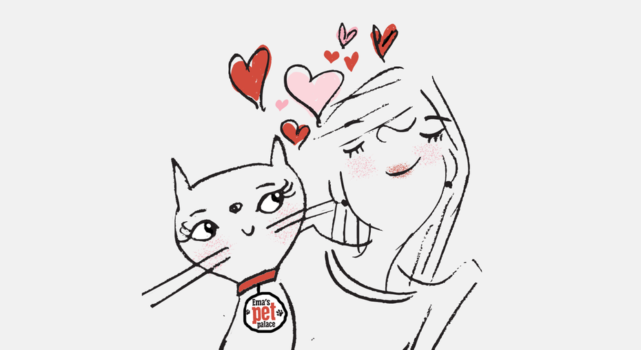 cat and girl cuddling illustration