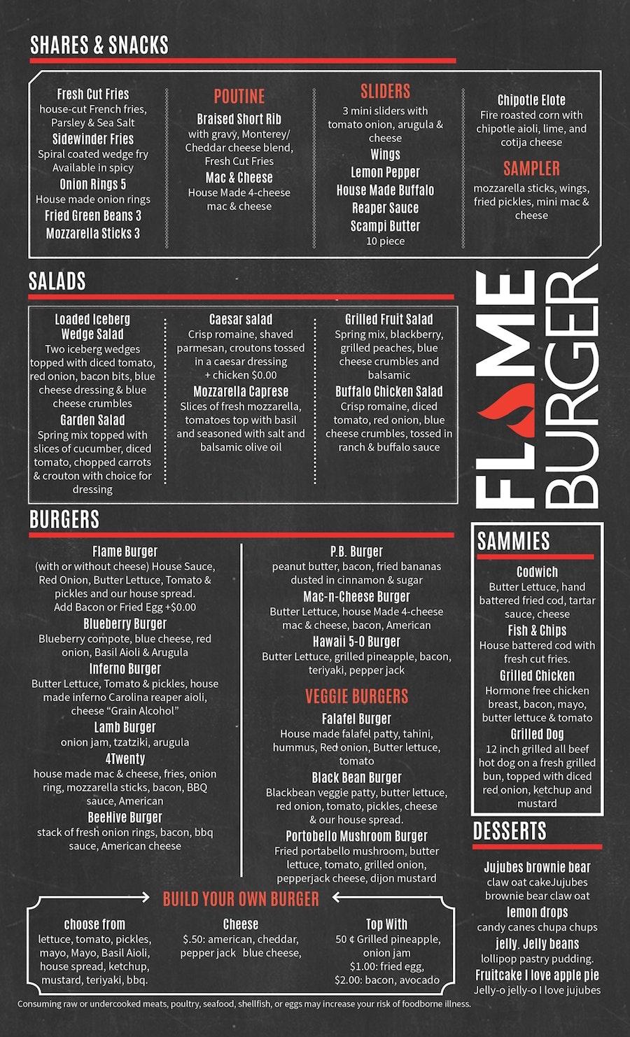 menu flame burger red text font