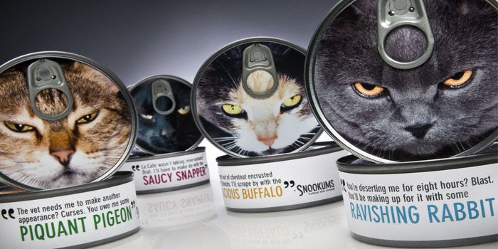 Snookums cat food can product packaging