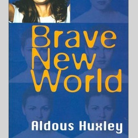 Brave New World book cover with Blur logo font