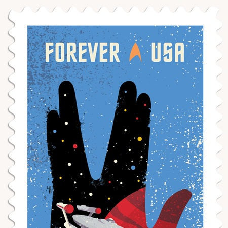 Forever USA stamp with Horizon font