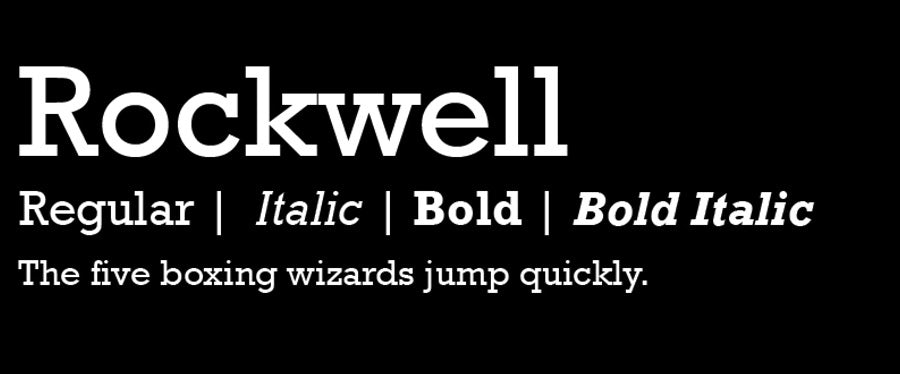 variations of rockwell logo fonts