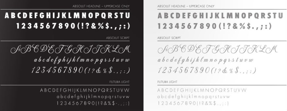 absolut identity design typeface