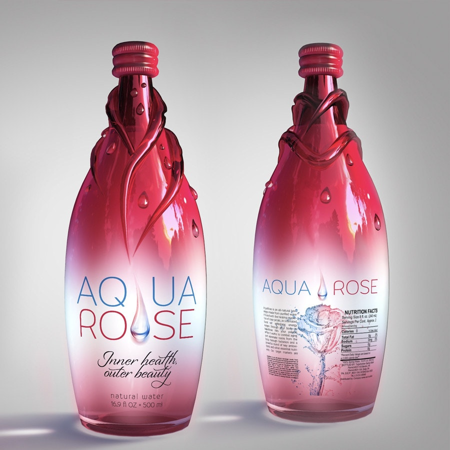 aqua rose bottle