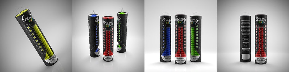 Leazy shoelace product packaging from 99designs