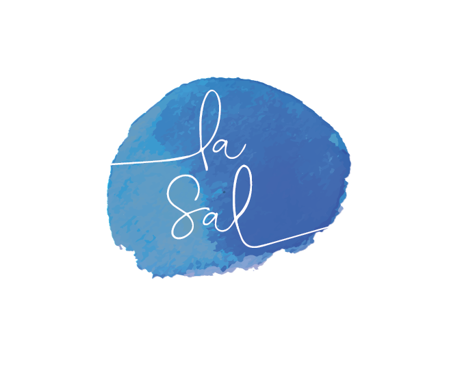 blue watercolor la sal print texture logo