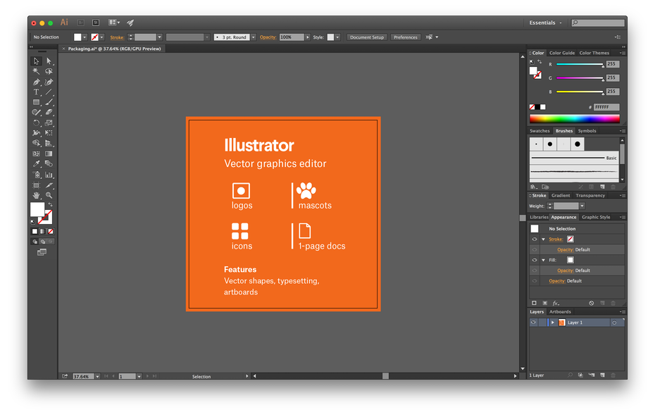 The Adobe Illustrator interface with a breakdown of how to use the program
