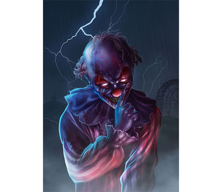 scary clown illustration