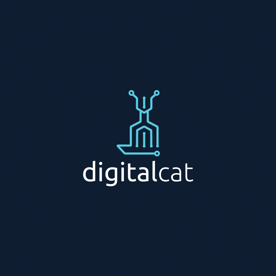 digital technology cat logo