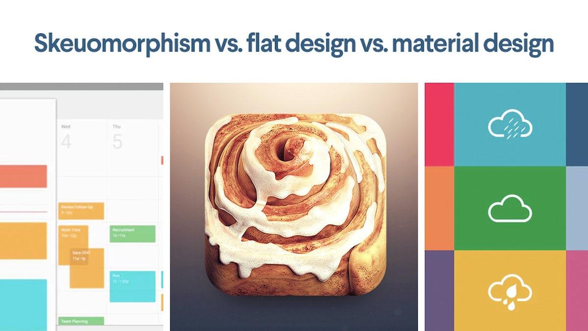 Skeuomorphism vs  flat design vs material design - 99designs