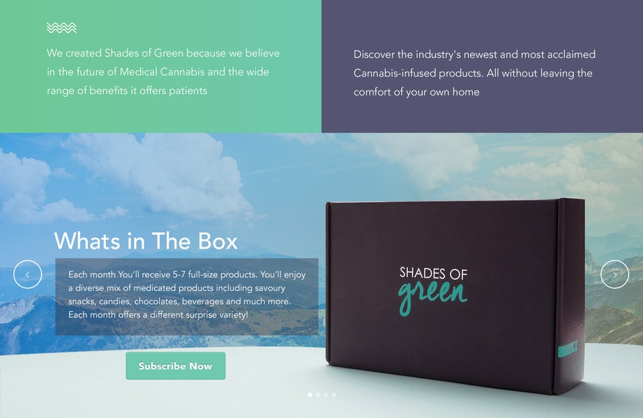 shades of green website design