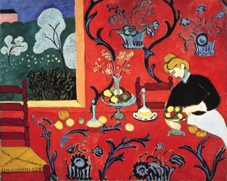 The Dessert: Harmony in Red, 1908 by Henri Matisse. Via HenriMatisse.org