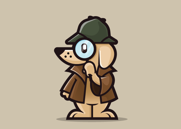 A dog detective logo for hound spy