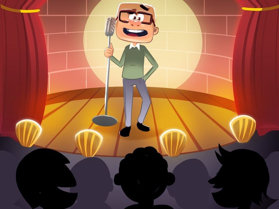 An illustration of a stand-up comedian