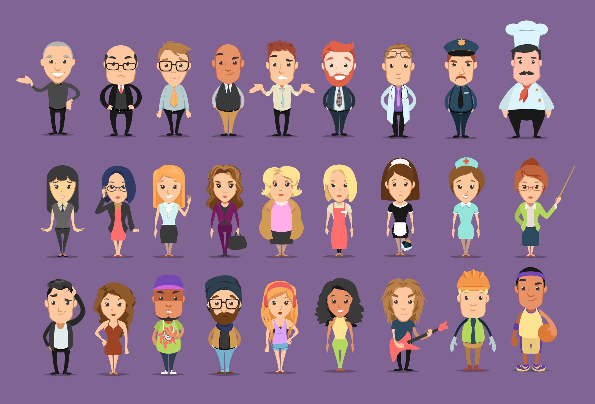 A series of flat design illustration showing different kinds of people